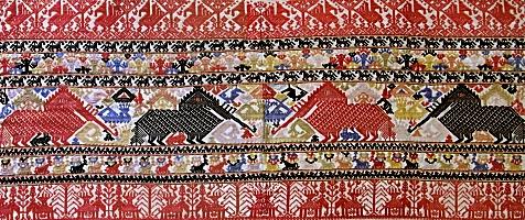 ラオス タイ・ルー族 仏教寺院奉納・縫取織幕