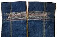 ♪繊細な手紡ぎ木綿と天然染料遣いのチン族経縞織&片面緯紋織・衣装